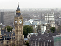 Aerial view of Big Ben from the London Eye, London England