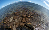 Fish Eye with Molokai directly at top and Shipwreck to the left